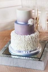 Silver Grey Ruffle Wedding Cake