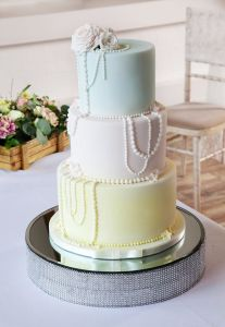 Pastel Coloured Beaded Wedding Cake