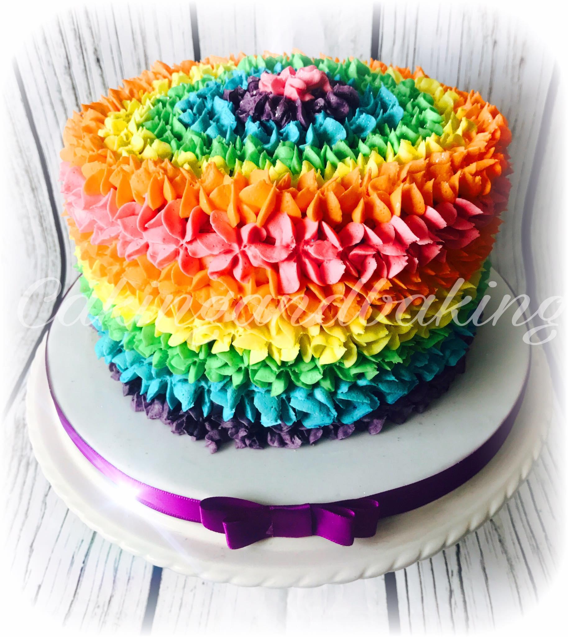 Enjoyable Buttercream Rainbow Cake Caking And Baking Leamington Spa Personalised Birthday Cards Arneslily Jamesorg