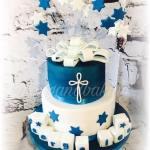 Navy & White Christening Cake