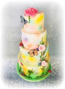 Butterfly Airbrushed & Handpainted Wedding Cake
