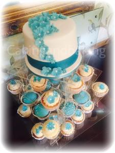Wedding Cake Cupcake Tower - Aqua