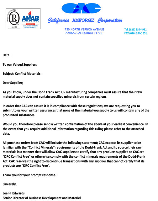 California Amforge Corporation  Conflict Management Letter to Suppliers