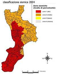 Calabria. Classificazione sismica 2004