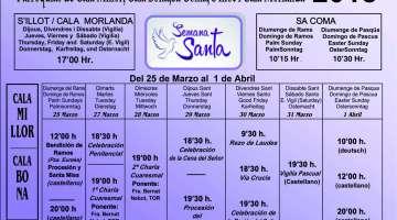 Setmana Santa a les parròquies de Cala Millor, Cala Bona, Sa Coma S'Illot i Cala Morlanda 2018