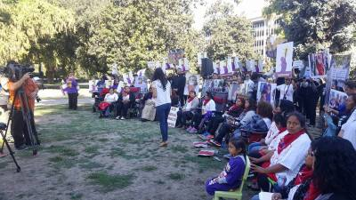 Janitial works and their families at hunget strike at the California Capitol