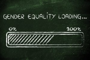 dark background with white writing saying Gender Equity Loading and graphic of loading icon