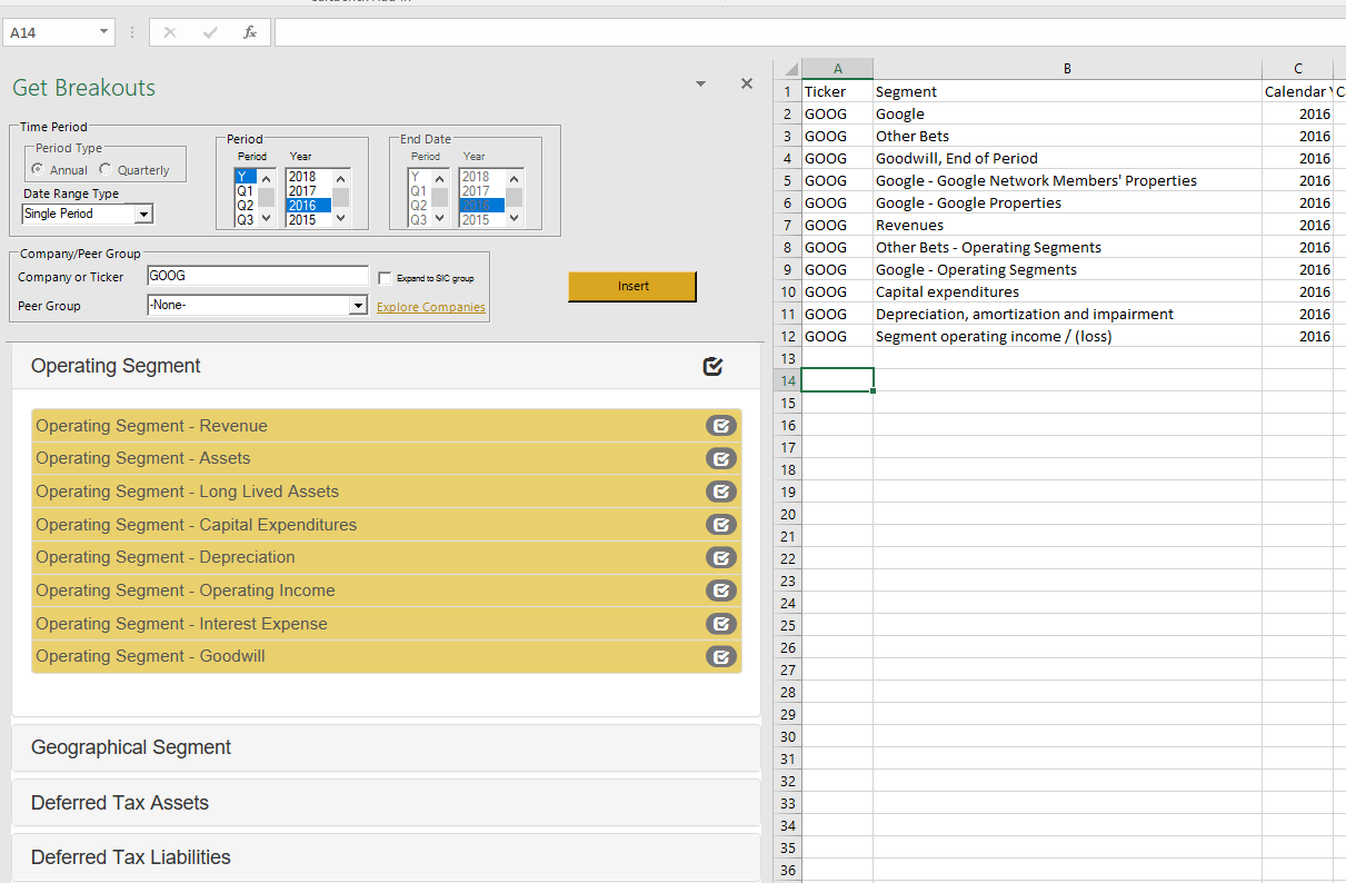 Calcbench Excel Add In