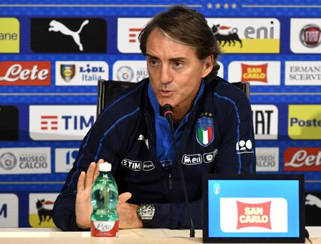 Italian national soccer team's head coach Roberto Mancini speaks during a press conference held at Coverciano Sport Center, 12 November 2018 in Florence.  ANSA/CLAUDIO GIOVANNINI