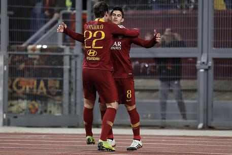 Roma's Diego Perotti (R) celebrates his goal with Nicolò Zaniolo during the Serie A soccer match between AS Roma and US Sassuolo at the Olimpico Stadium in Rome, Italy, 26 December 2018. ANSA/RICCARDO ANTIMIANI