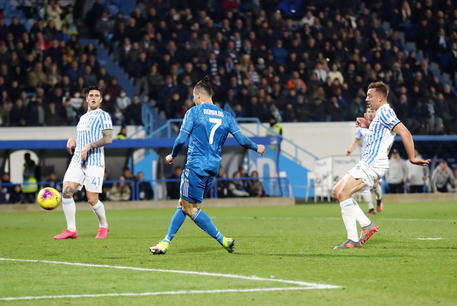 Juventus'   Cristiano Ronaldo  scores the goal (0-0) during the Italian Serie A soccer match S.P.A.L vs Juventus FC at Paolo Mazza stadium in Ferrara, Italy, 22 February 2020. ANSA / ELISABETTA BARACCHI