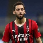 MILAN, ITALY - MAY 16: Hakan Calhanoglu of AC Milan looks on during the Serie A match between AC Milan  and Cagliari Calcio at Stadio Giuseppe Meazza on May 16, 2021 in Milan, Italy. (Photo by Marco Luzzani/Getty Images)