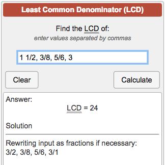 lcd calculator least common