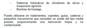 Usos específicos del aceite exento de hidrocarburos.