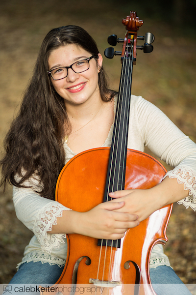 Aly's senior picture posing with her cello