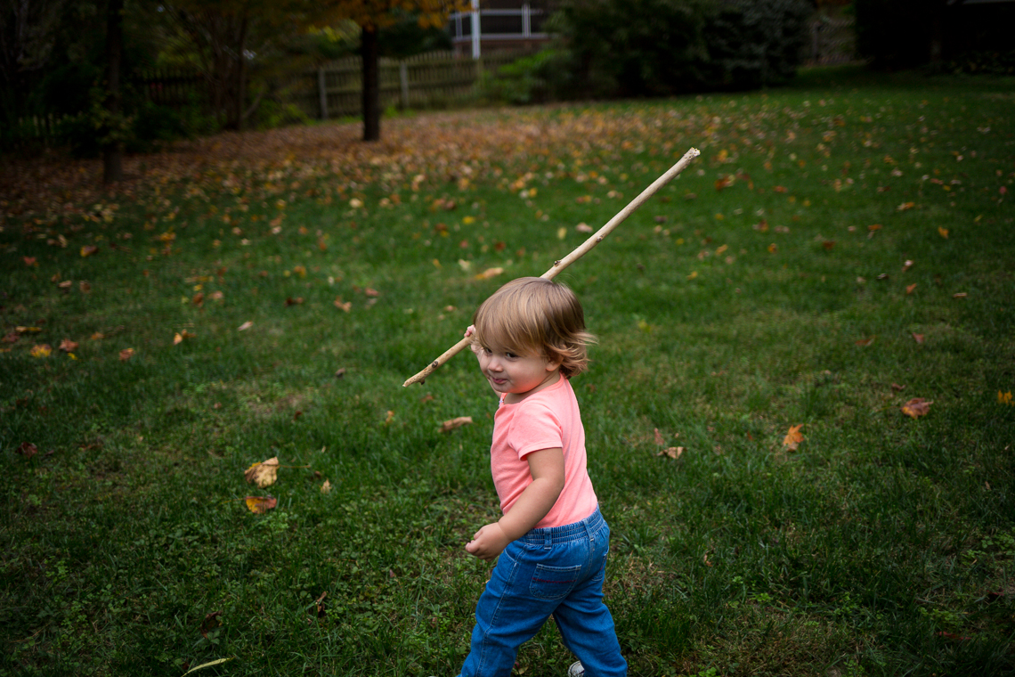 Harper running around the backyard
