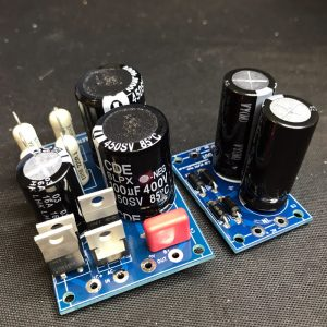 Image of fully populated main power supply PCB (left) and valve heater filament power supply PCB (right).