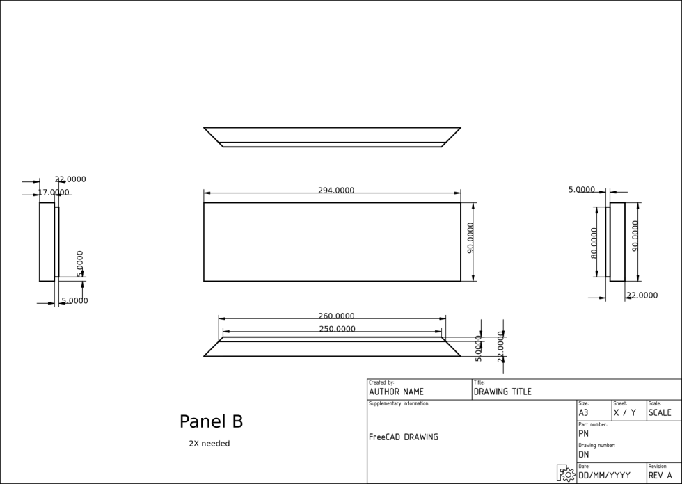 Technical drawing of a compatible wooden chassis for Classiqu amp kit.