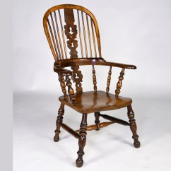 Antique Windsor Chair Wicker Patio Furniture Cushions English Yew Wood Armchair Antiques