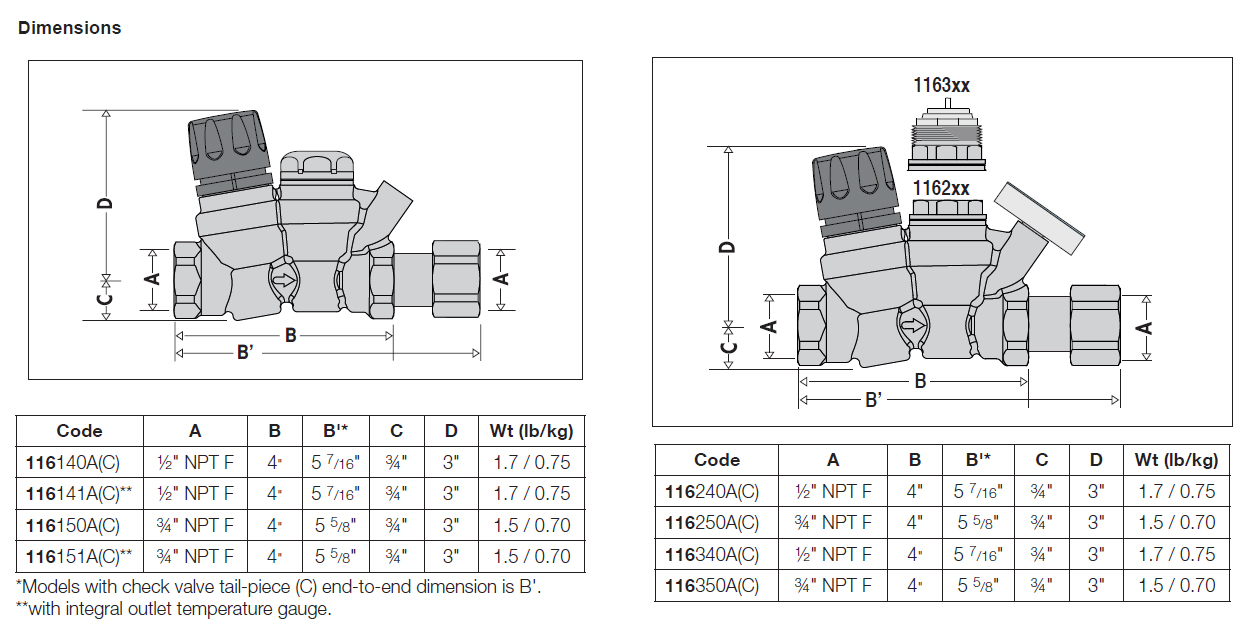 116 THERMOSETTER™ Thermal Balancing Valve (thermal