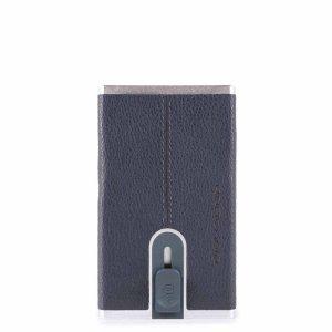 """Piquadro porta carte di credito in metallo e pelle """"B3R – Black Square"""" Blu PP4825B3R.BLU"""