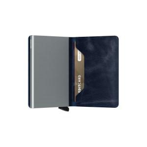 """Secrid portafogli compatto in alluminio e pelle """"Slimwallet Vintage"""" Blu SV.BLUE"""