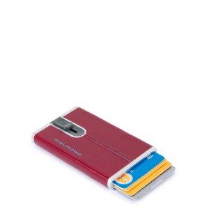 """Piquadro porta carte di credito in metallo e pelle """"B2R – Blue Square"""" Rosso PP4825B2R.R"""