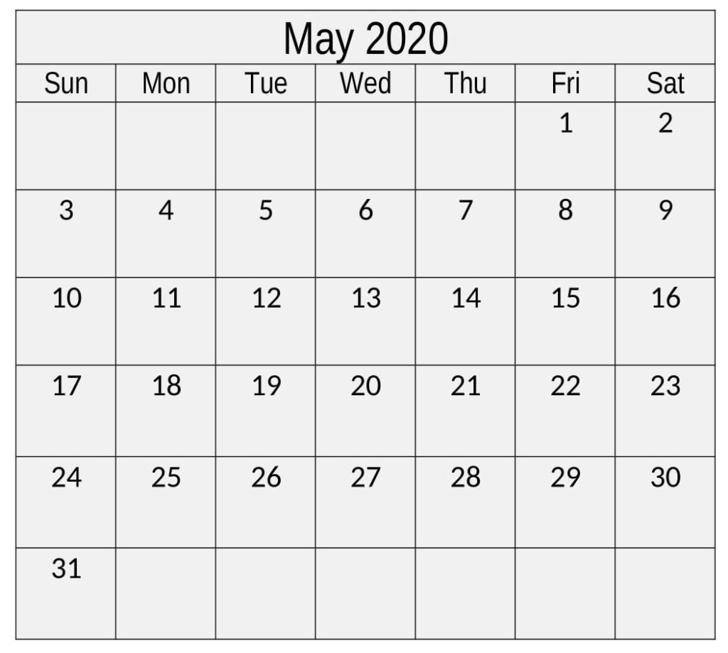 May 2020 Calendar Printable Monthly