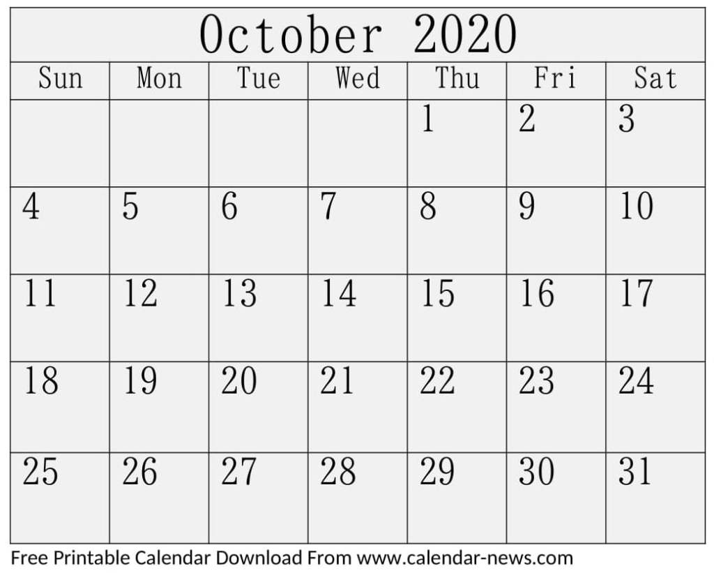 October 2020 Calendar Blank Pages