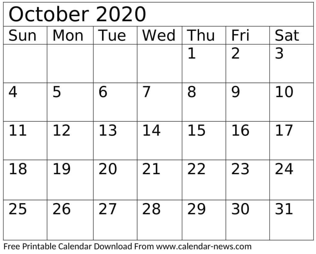 Printable October 2020 Calendar Festival