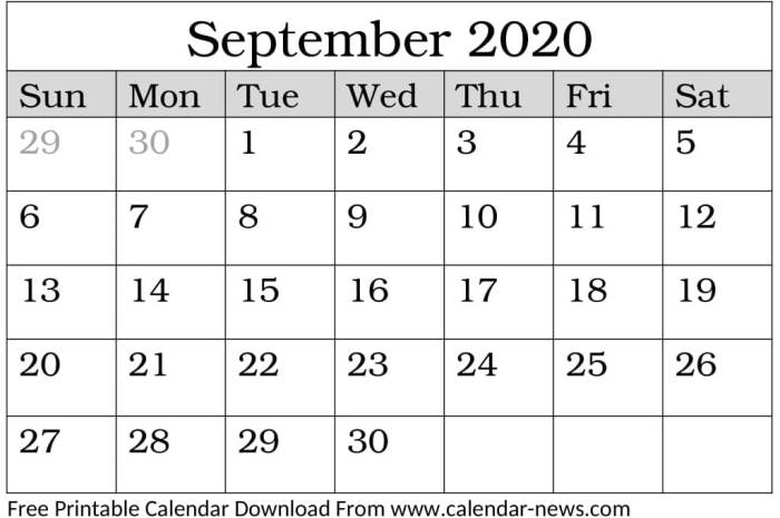 September 2020 Calendar With National Holidays And Events