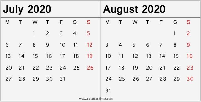 July August 2020 Calendar