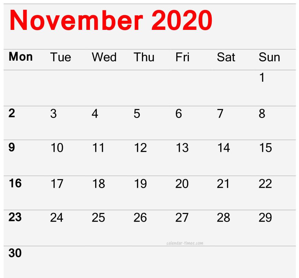 November Calendar 2020