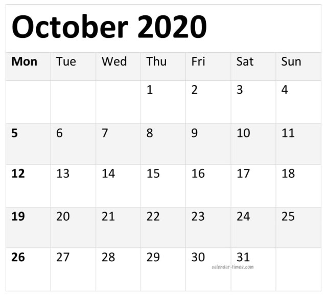 Printable October 2020 Monthly Calendar
