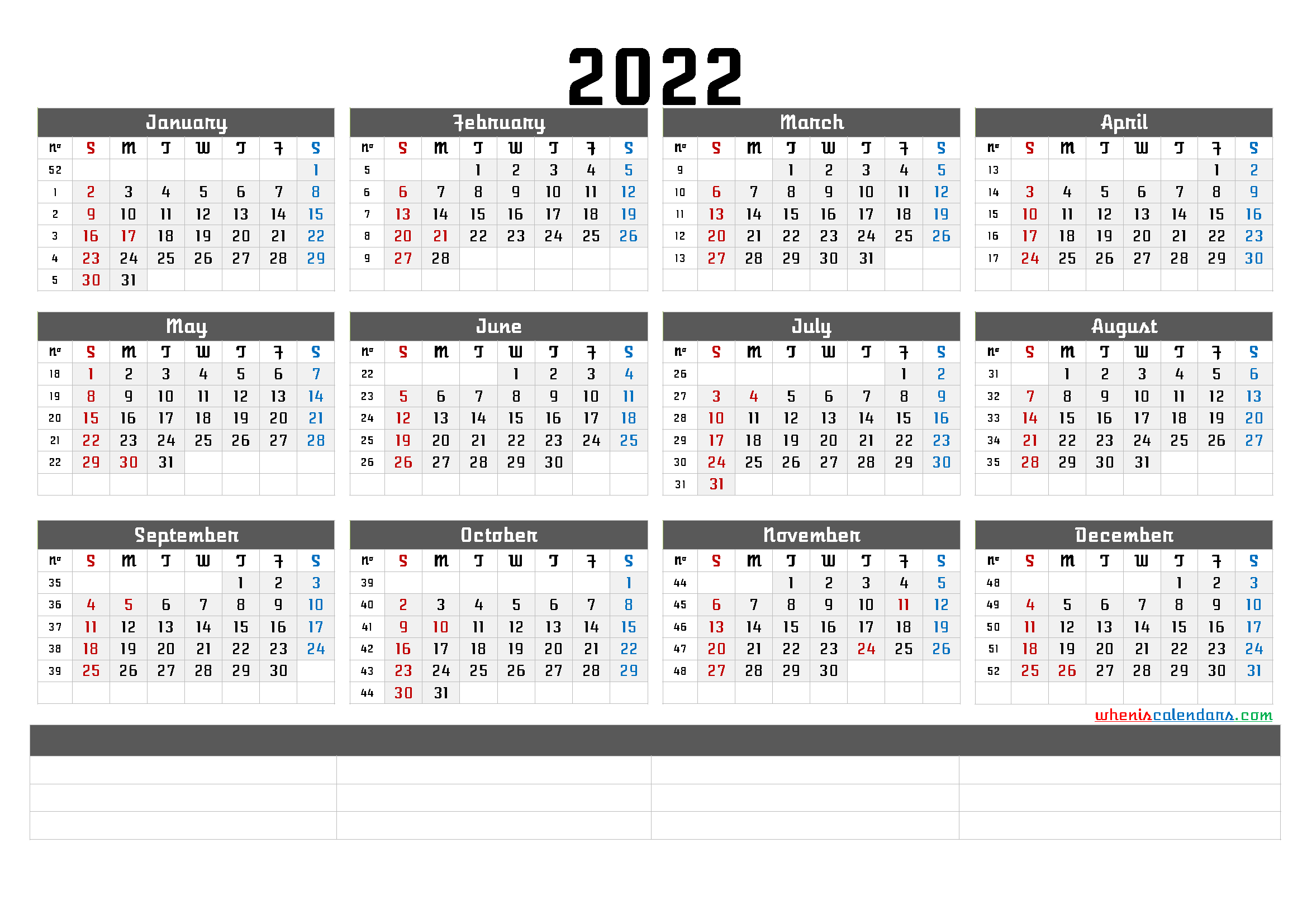 Printable 2022 Yearly Calendar - CalendraEX.com
