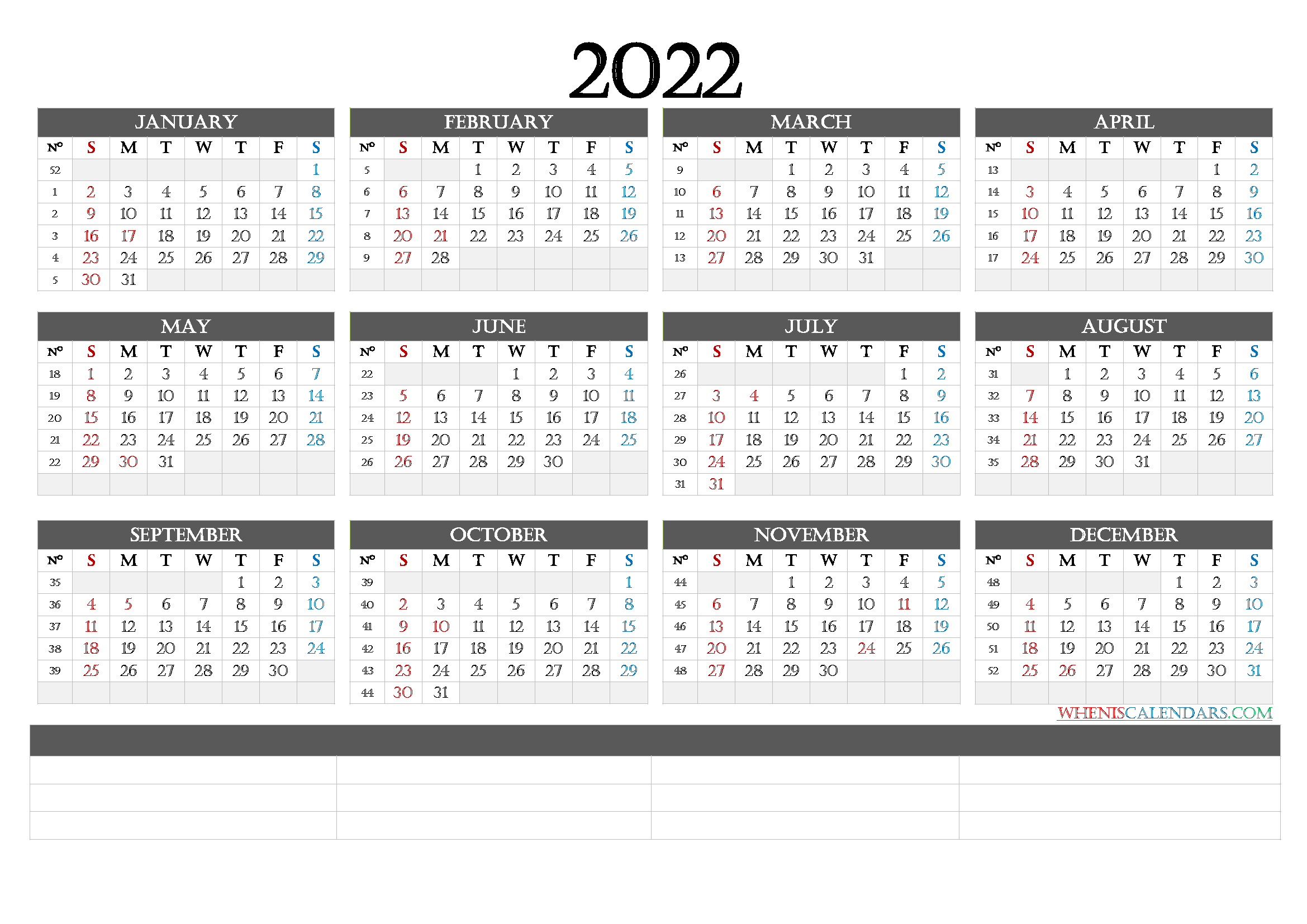 2022 Calendar with Week Numbers Printable - CalendraEX.com