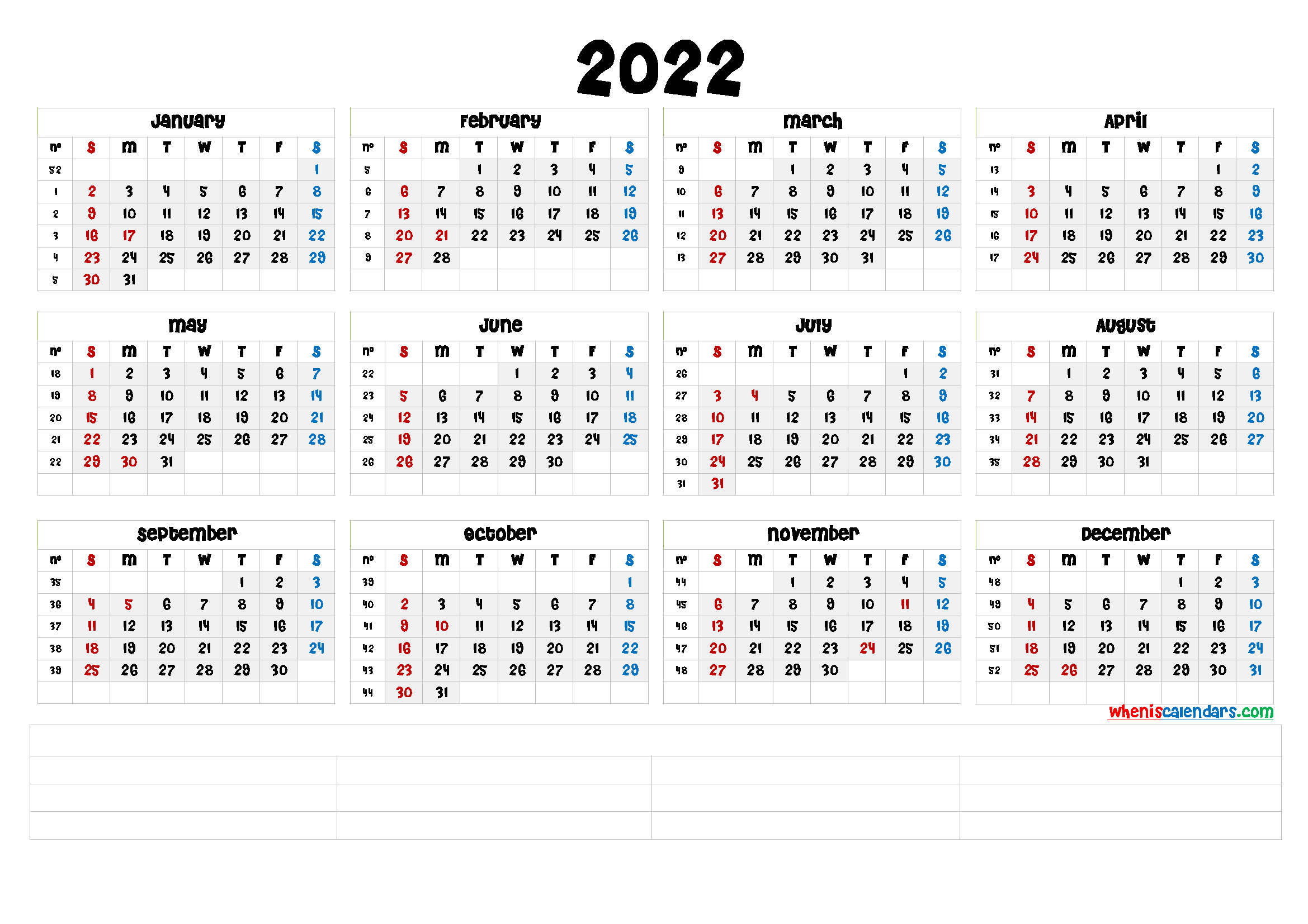 Downloadable 2022 Monthly Calendar - CalendraEX.com