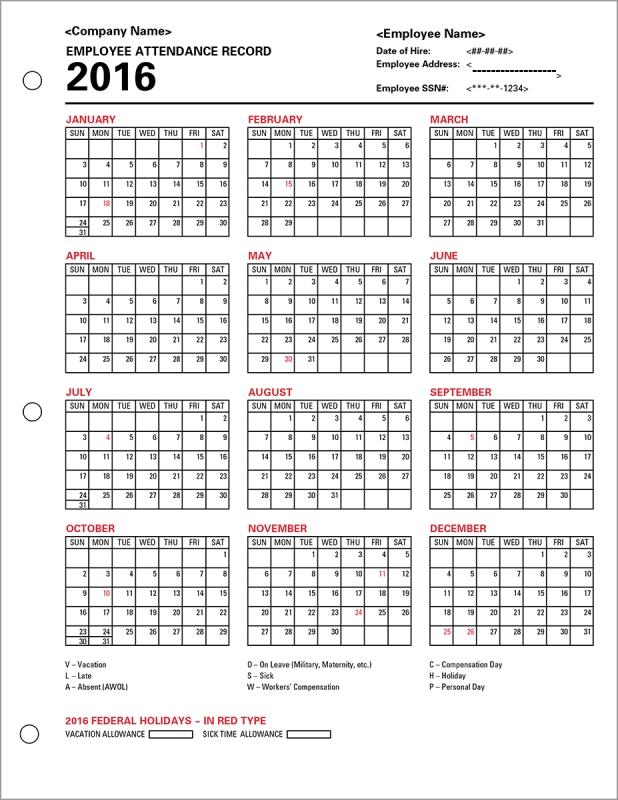 Absentee Calendar Excel :-Free Calendar Template