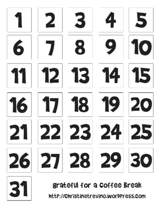 Number 1 To 31 Printable :-Free Calendar Template