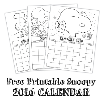 2016 Snoopy Calendars Free :-Free Calendar Template