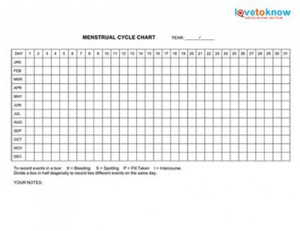Menstrual Calendar Printable :-Free Calendar Template