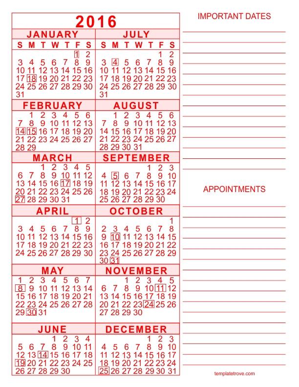 5 Year Calendar Printable :-Free Calendar Template