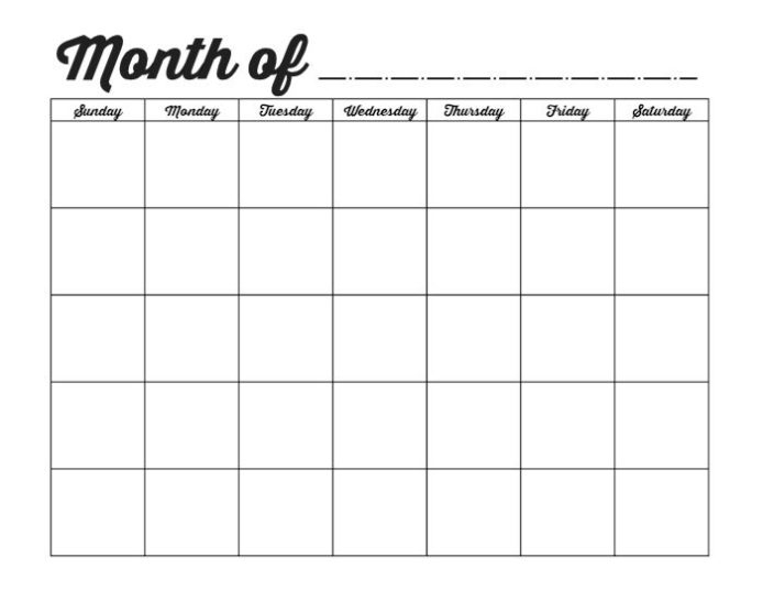 With and without the month names, multiple colors; Free Printable Blank Calendars To Fill In :-Free Calendar ...