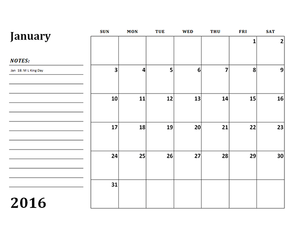View Calendar: 2016 Monthly Calendar Template 03