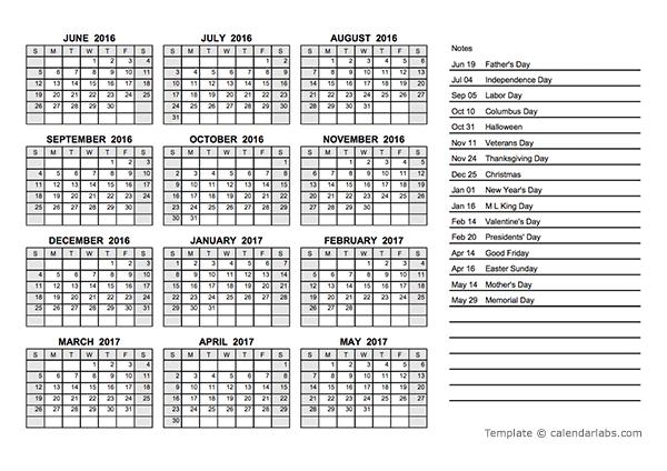 2016 Yearly Calendar PDF Free Printable Templates
