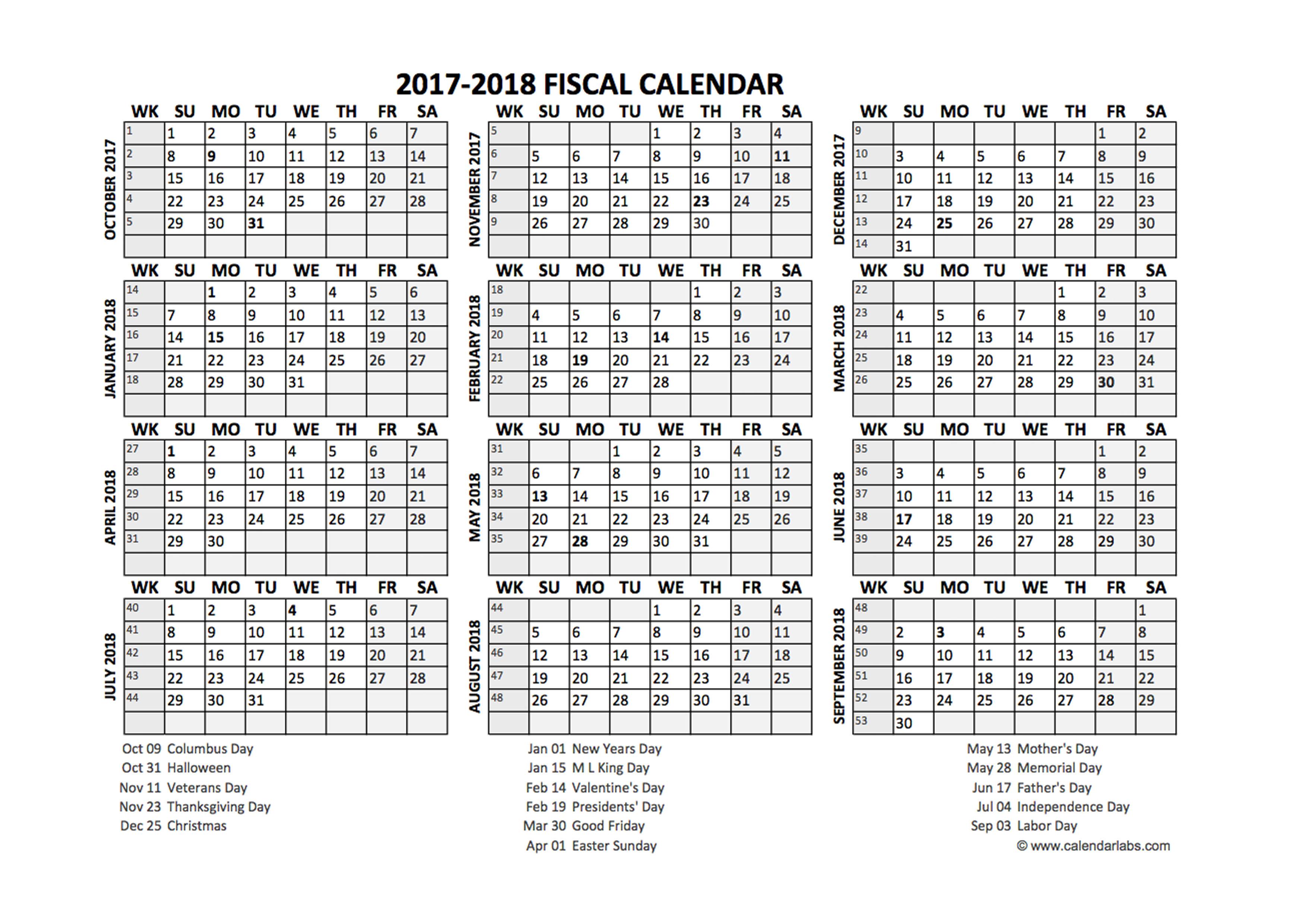 Fiscal Calendar 2017 18 Templates Free Printable Templates