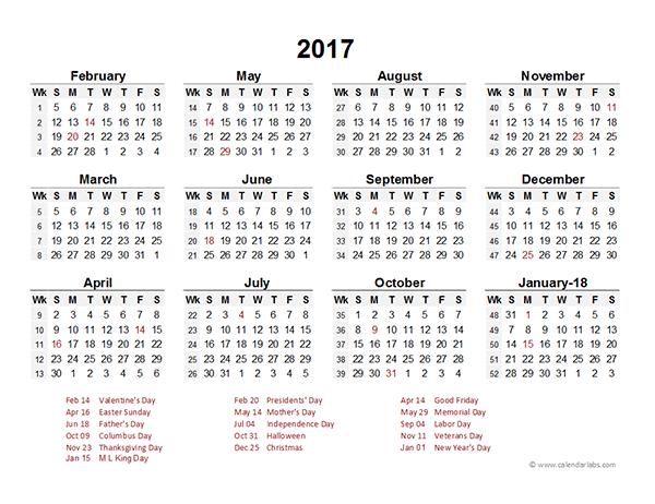 2017 Accounting Period Calendar 4-4-5 - Free Printable Templates
