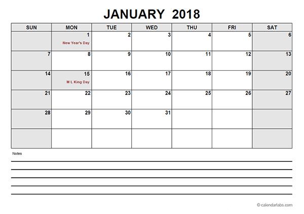 Free 2018 PDF Calendar Templates - Download & Print 2018 calendar PDF