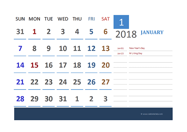 2018 Excel Calendar for Vacation Tracking - Free Printable Templates