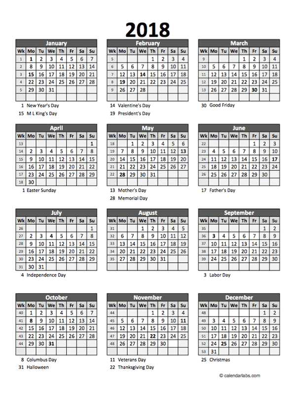 Editable 2018 Yearly Spreadsheet Calendar - Free Printable Templates